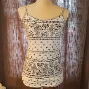 Maurices small black and white boho tank top